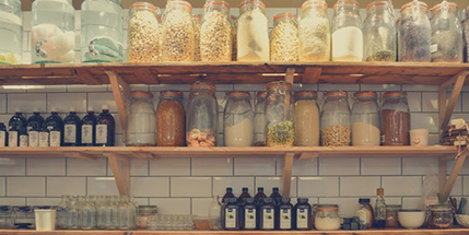 organic ingredients on shelf