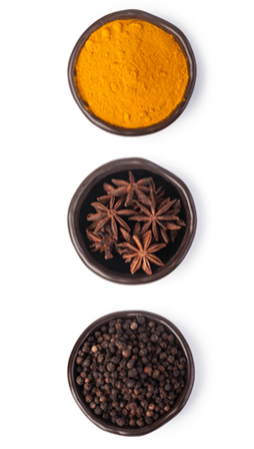 Spices in three bowls